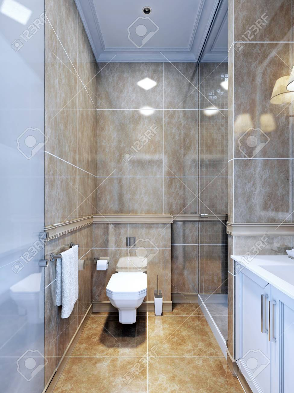 Idée de la salle de bains de provence. Un exemple d\'une salle de bain  intérieure avec un espace limité, où la douche séparée semble belle avec  une ...