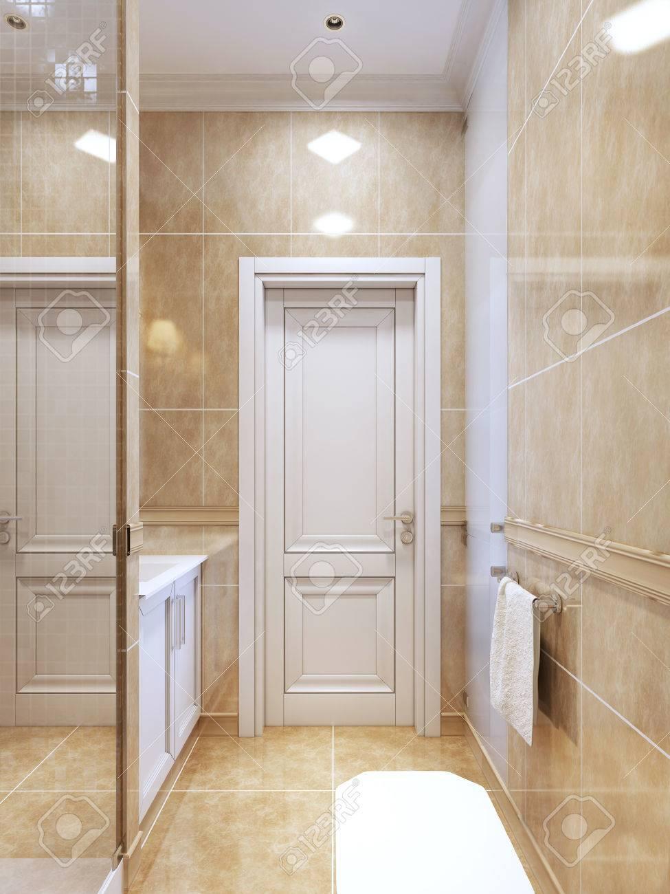 Moderne Badezimmer Mit Dusche. Helles Badezimmer Interieur Mit Weißen Türen  Und Möbel. 3D übertragen