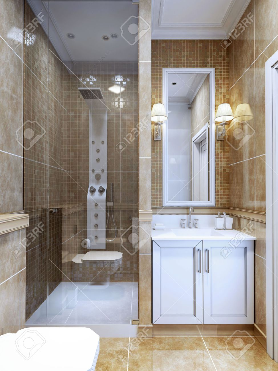 Design Of Modern Bathroom. he ombination Of Natural Marble ... - ^