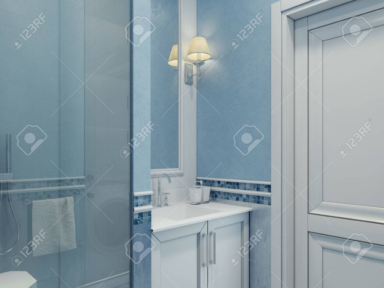 Design Of Modern Bathroom. Bathroom Elegantly Made Blue. Shower ...