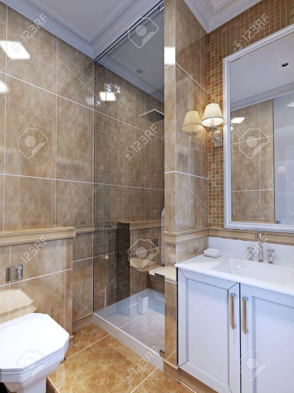 Estilo deco baño arte. Un cuarto de baño completo que es de tamaño pequeño.  azulejo de color beige natural abarca tanto suelo y la pared. 3D rinden