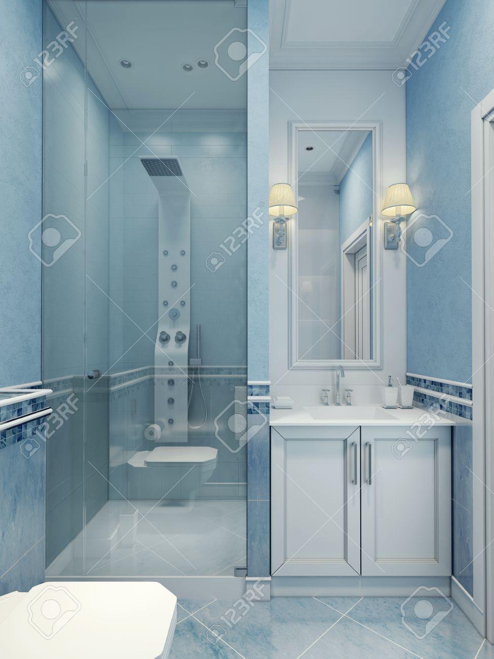 progettazione di bagno moderno blu. la combinazione di colori ... - Colori Bagno Moderno