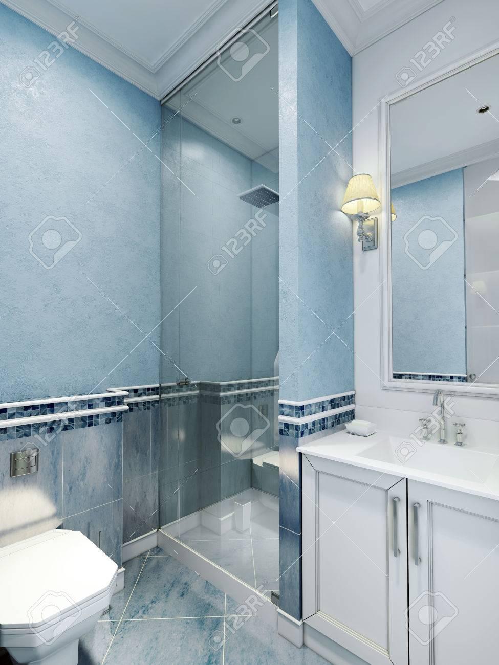 Gestaltung Von Badezimmer Mit Blauen Farbe. Weiße Möbel