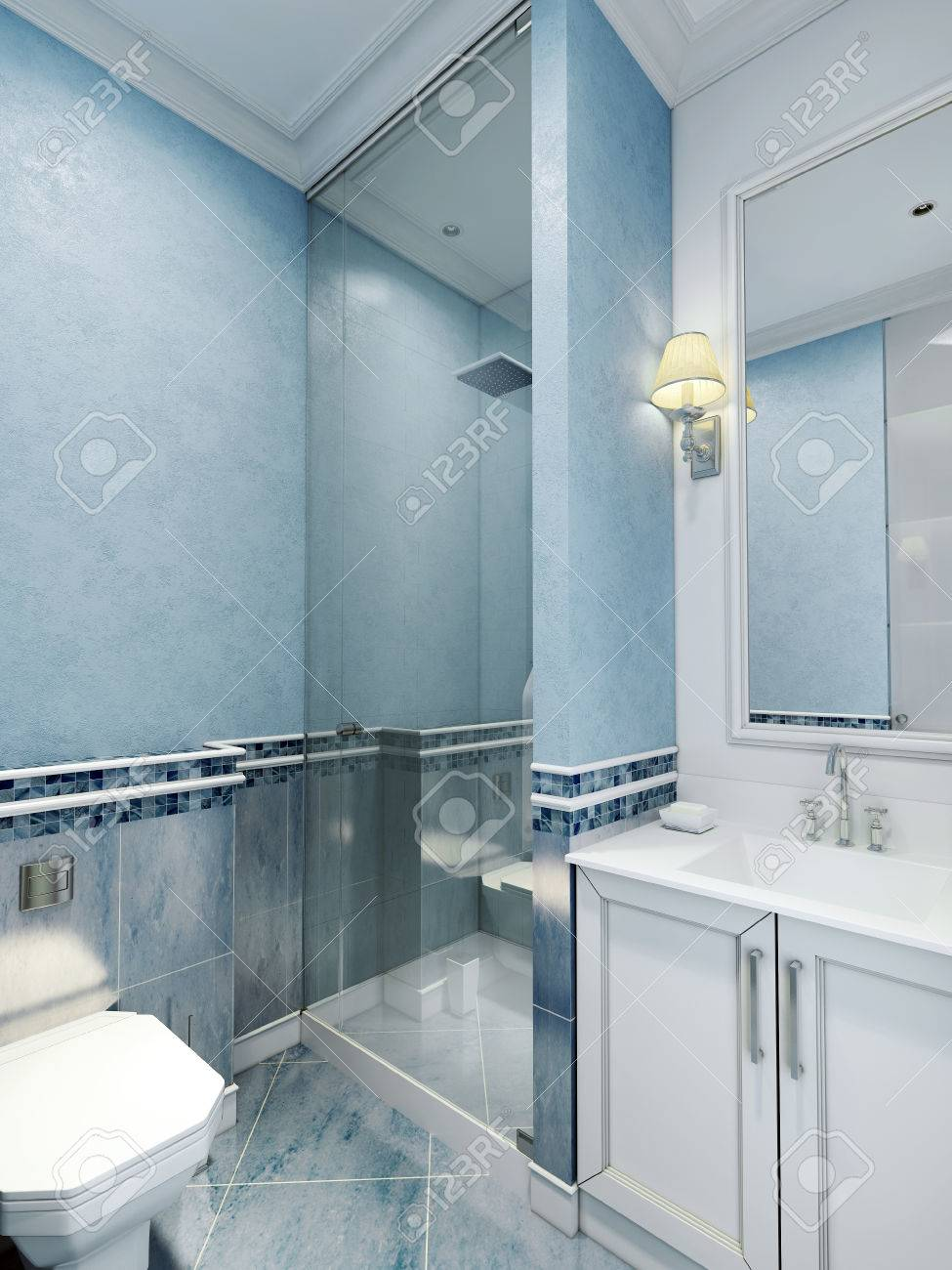 Bathroom Art Deco Style. Design Of Bathroom With Using Blue Color. White  Furniture And