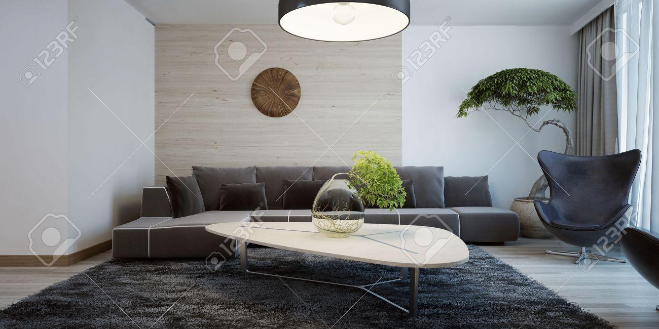 Standard Bild   Vorstellung Von Zeitgenössischer Wohnzimmer. Kombinierte  Wanddekoration. Wohnzimmer Mit Dunklen Möbeln Und Hellen Holztisch. 3D  übertragen
