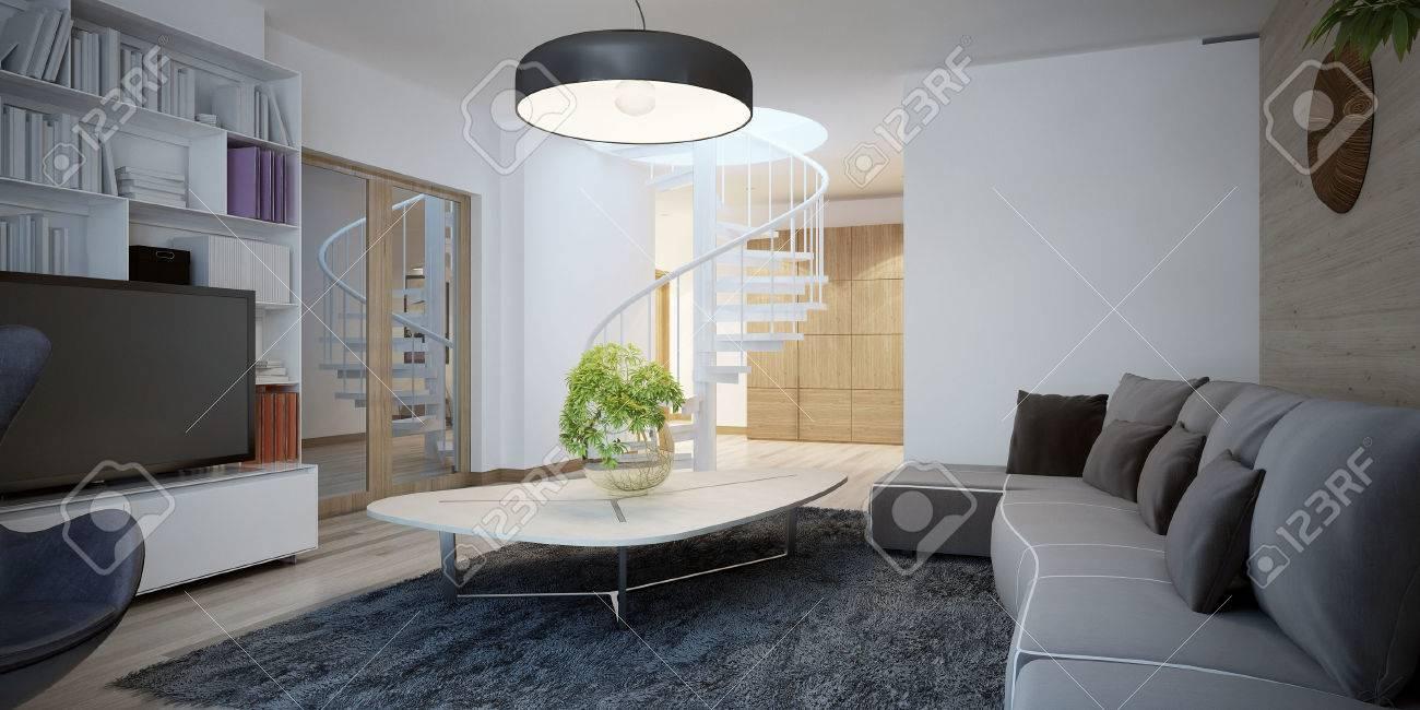 Gemütliches Wohnzimmer Design. Das Design Der Wohnzimmer In Einem  Ferienhaus Mit Dunklen Möbeln Und Wänden