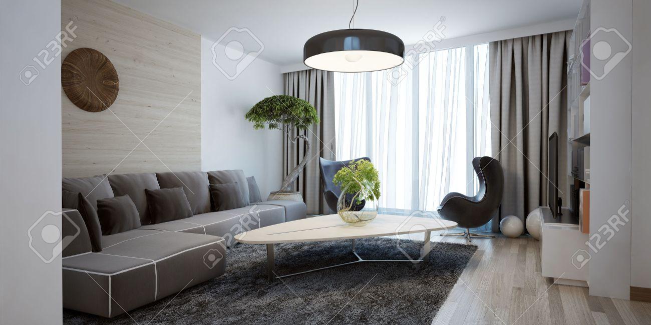 Ljusa rymliga utformningen av moderna vardagsrum. den ...