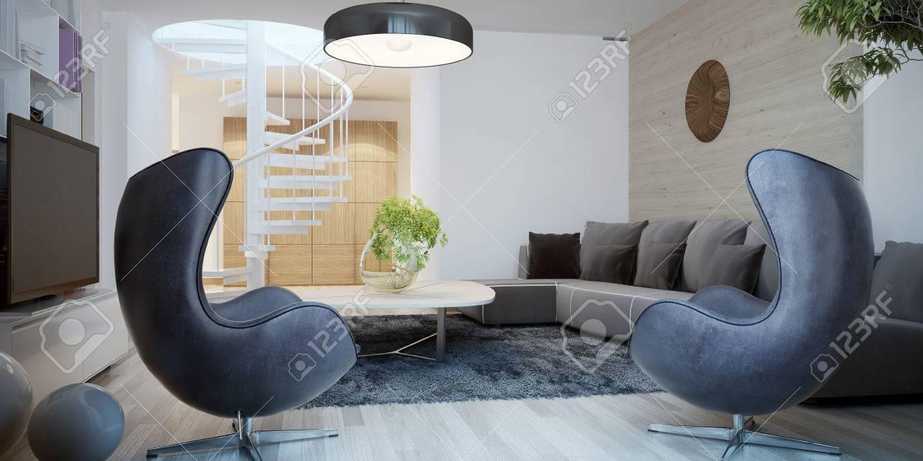 Wohnzimmer Zeitgenössischen Stil. 3D übertragen Lizenzfreie Fotos ...