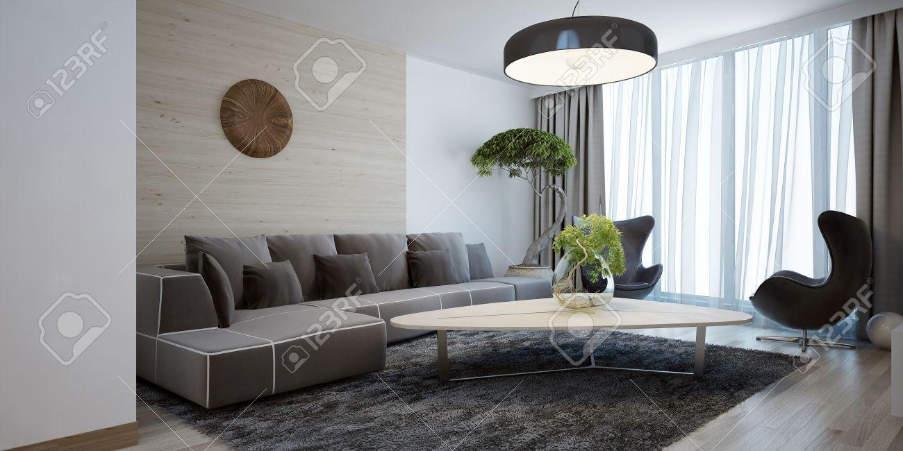 Salon lumineux de style moderne. chambre design spacieuse avec une table en  bois lisse, coin canapé et des chaises. La combinaison de murs en bois ...