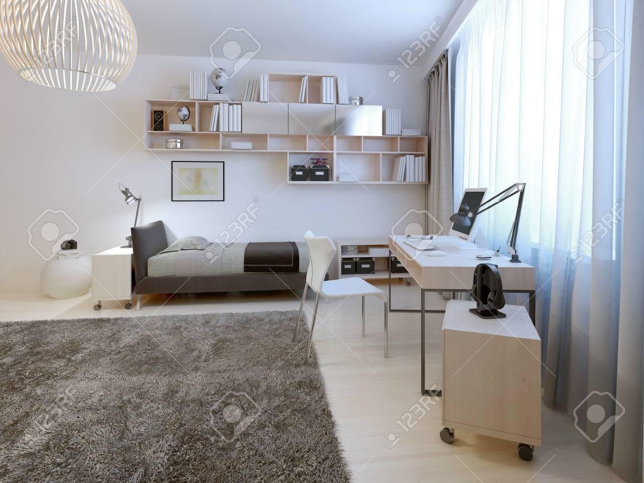 Teenage Zimmer Minimalistischen Stil. Ordentlich Bett Mit Hängenden ...