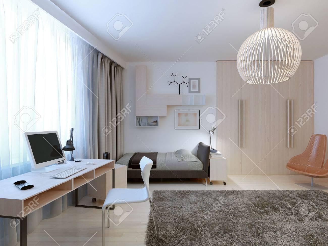 Spacieux Tendance Chambre Moderne. Belle Chambre Lumineuse Pour Un ...