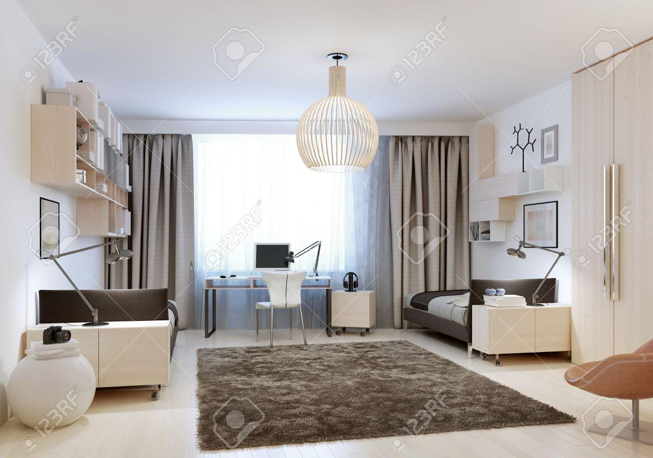 dormitorio con dos camas en el estilo minimalista d render foto de archivo