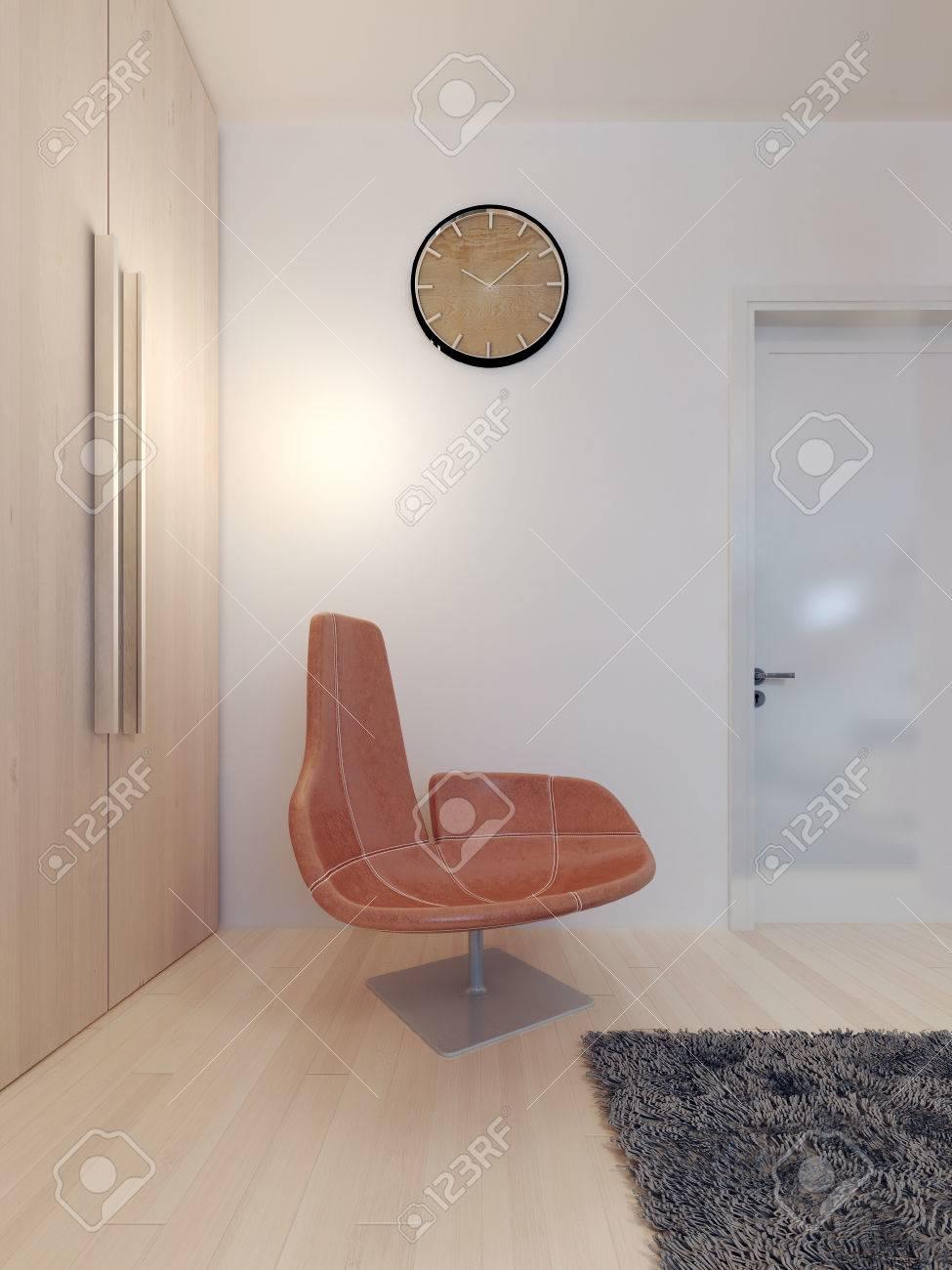 Fest Ei Stuhl In Einem Modernen Schlafzimmer Leder Orange Stuhl 3d