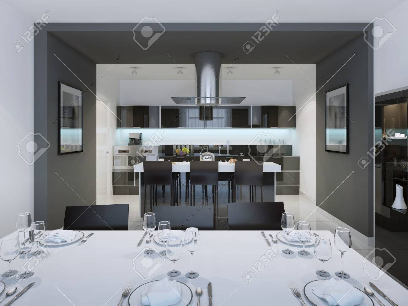 Contemporary Styled Kitchen With A Separate Island Bar. 3D Render Stock  Photo   46196121