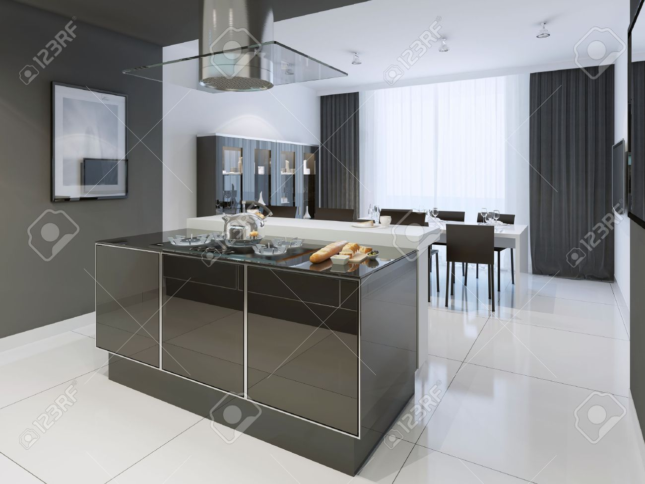 Black And White Kitchen Modern Style Color Separated Dining Room Looks Elegant From