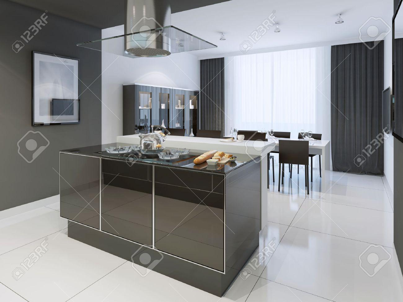 Schwarz-Weiß-Küche Modernen Stil. Farbe Getrennt Küche Und Esszimmer ...