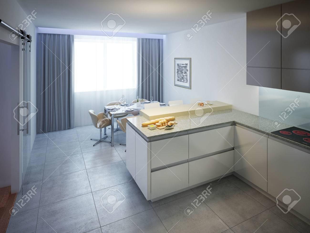 marmor kuche mit beton wand minimalistisch design, moderne küchendesign. das innere der modernen küche mit weißen, Design ideen
