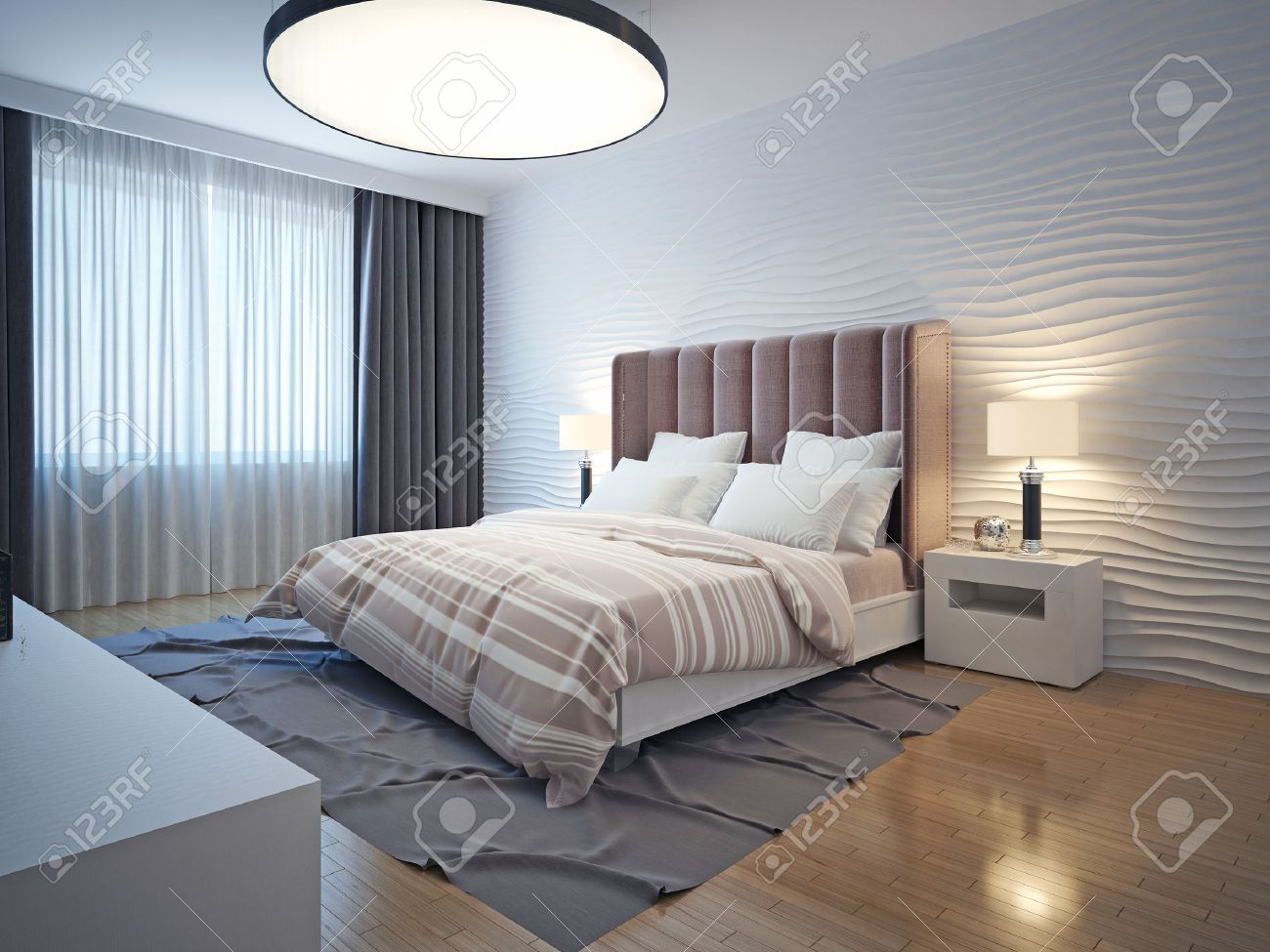 Be bedside table and bed - Light Tones Modern Bedroom Interior Bedroom With Brown Wood Flooring Bedside Table And A