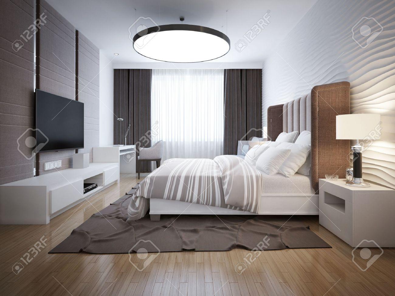 Design Lumineux De Chambre Contemporaine. Chambre Avec Un Mobilier ...