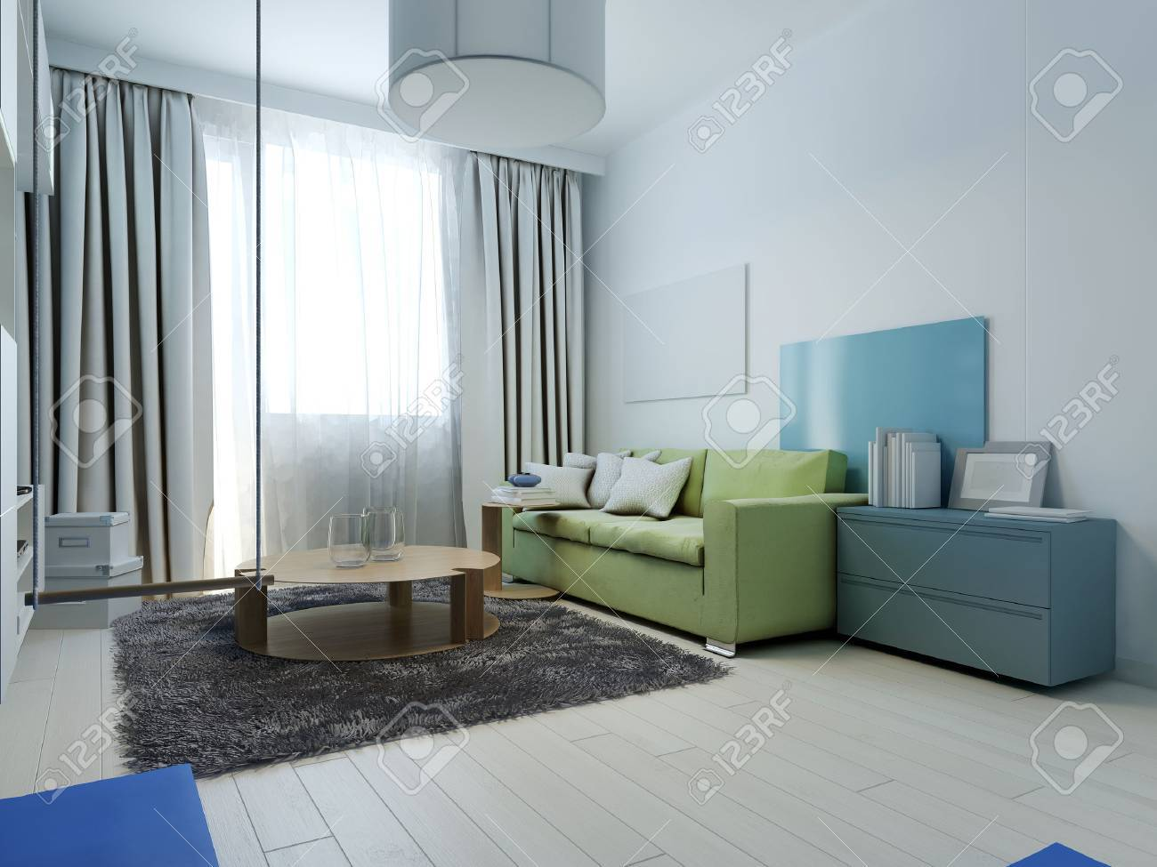 Living room kitsch style. Interior living room with colored furniture