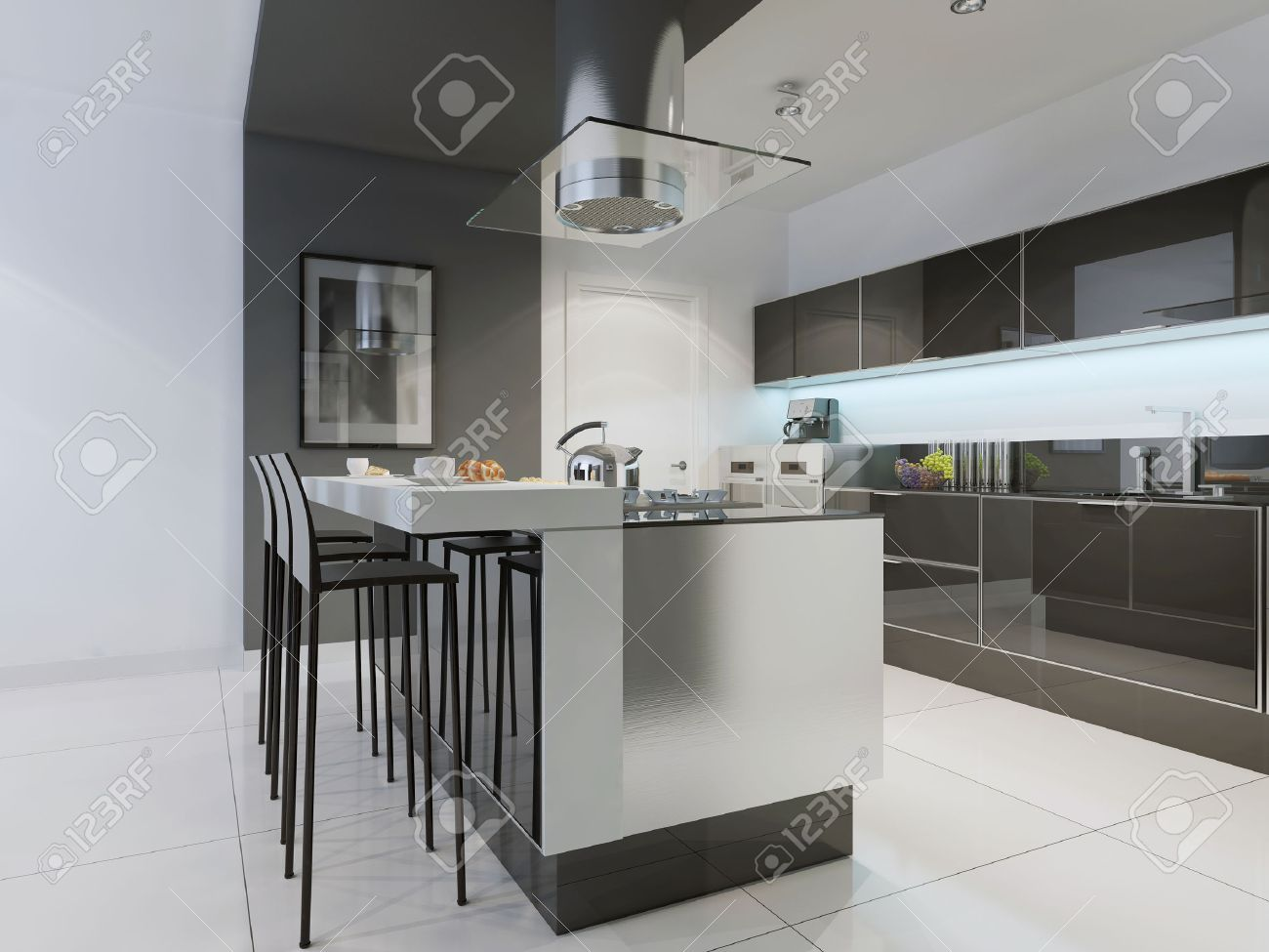 Design Of Modern Kitchen With Island. Flat Panel Cabinets, Black Glossy  Furniture, Ceiling