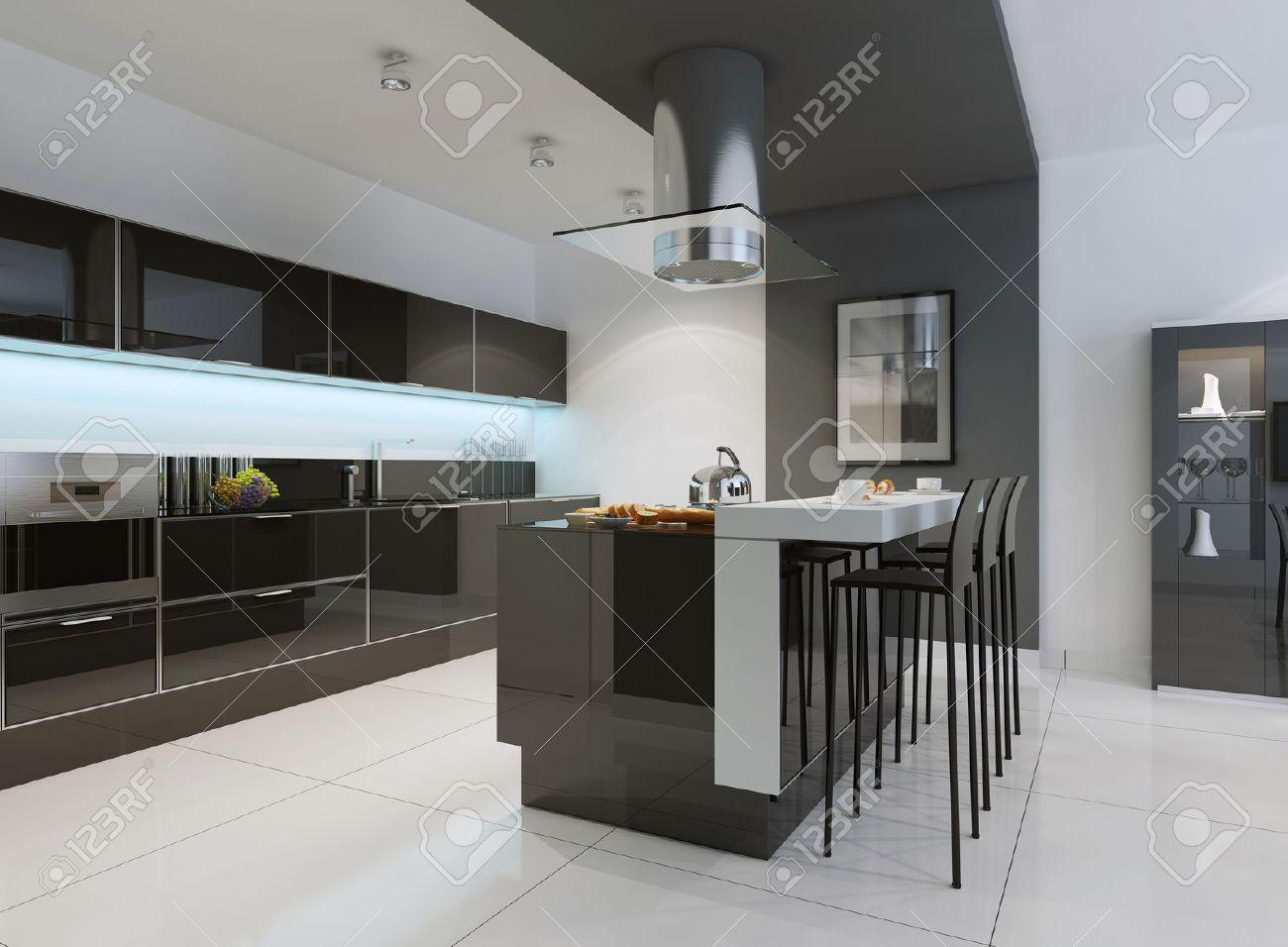Idée de cuisine minimaliste. Cuisine moderne avec un évier encastré,  armoires à écran plat, d\'armoires de ton noir et appareils lambrissés. 3D  ...