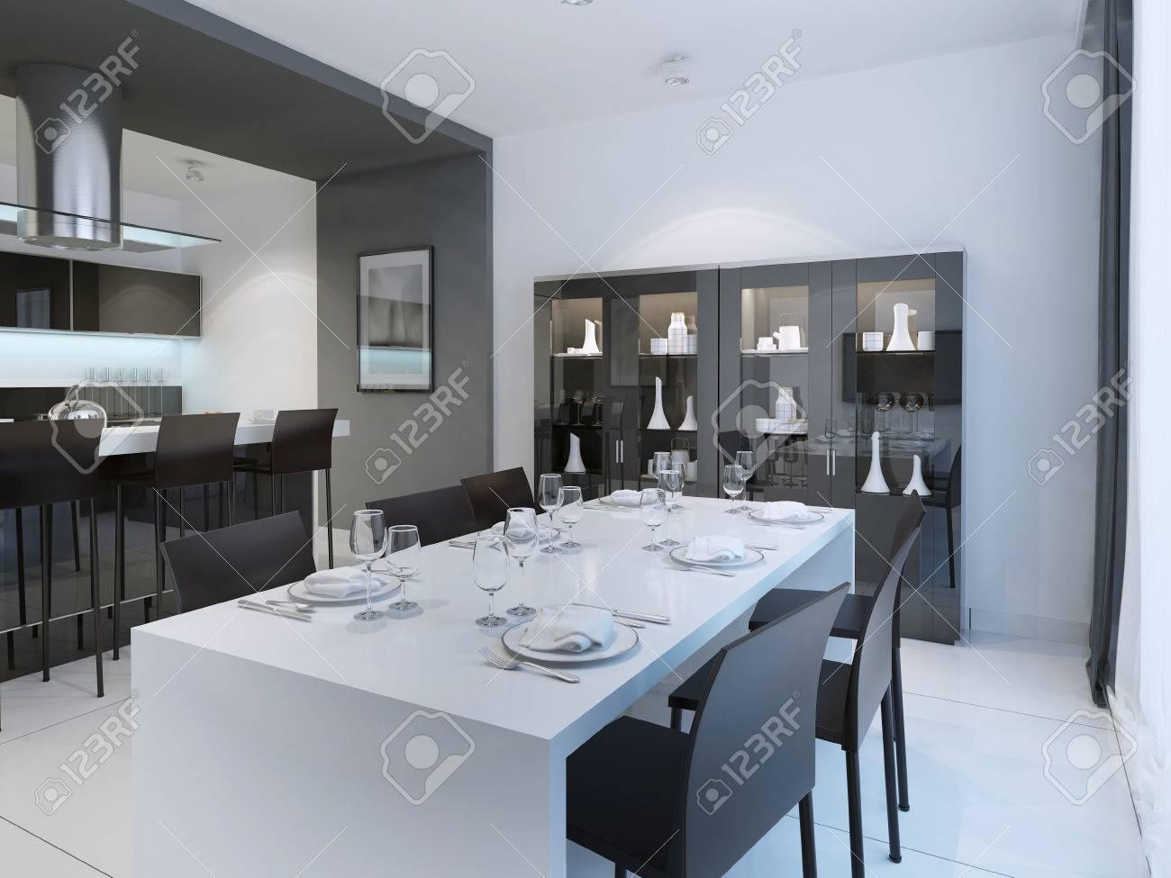 Comedor Contemporáneo Con Mesa Blanca Servido. 3D Rinden Fotos ...