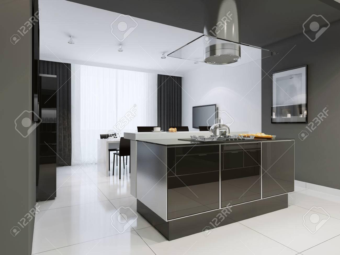 stile moderno cucina. cucina e sala da pranzo con pareti in ... - Mobili Moderni Da Sala