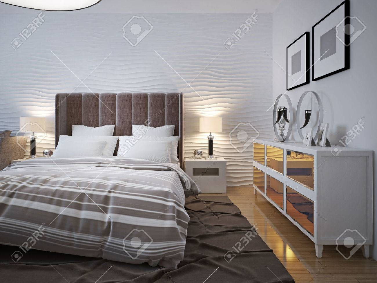 Modern Bedroom With Sideboard Trend 3d Render Stock Photo Picture And Royalty Free Image Image 46196905