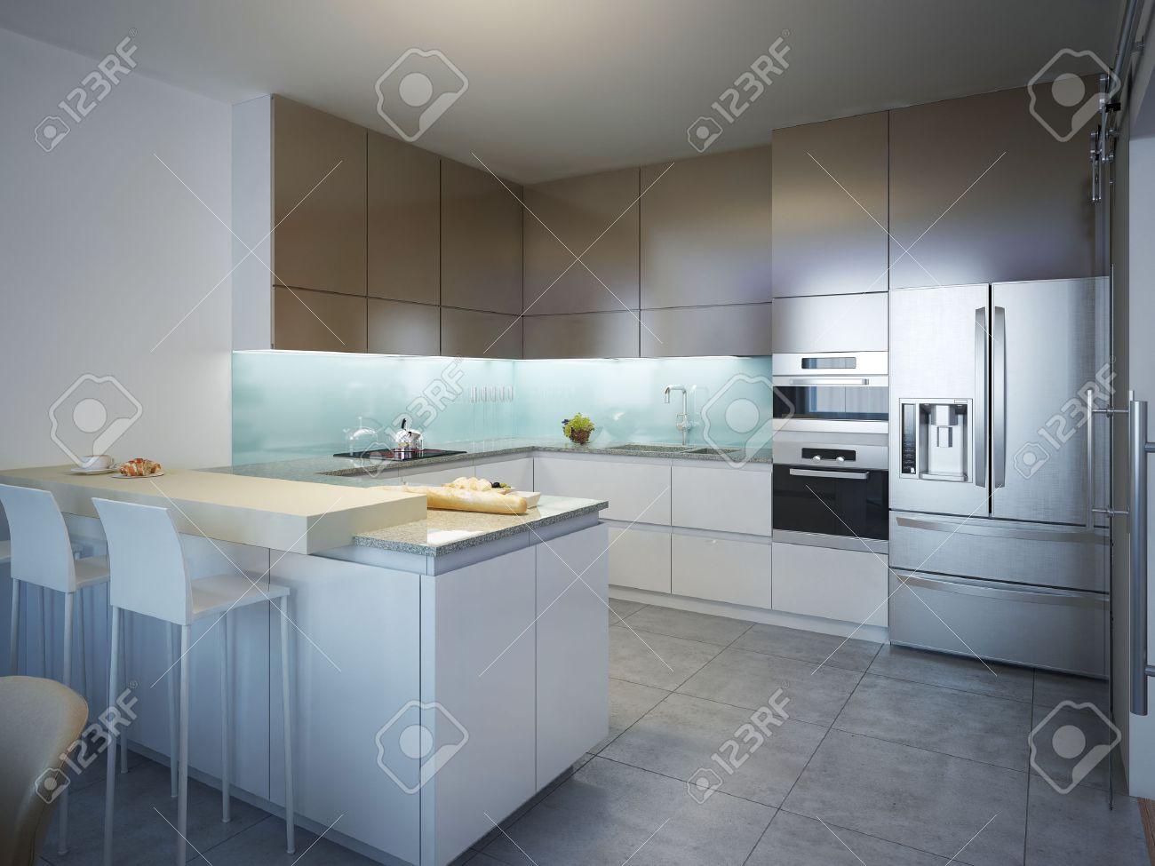 Idee Der Zeitgenössischen Küche. Küche Mit Weiß Und Braun Matt ...