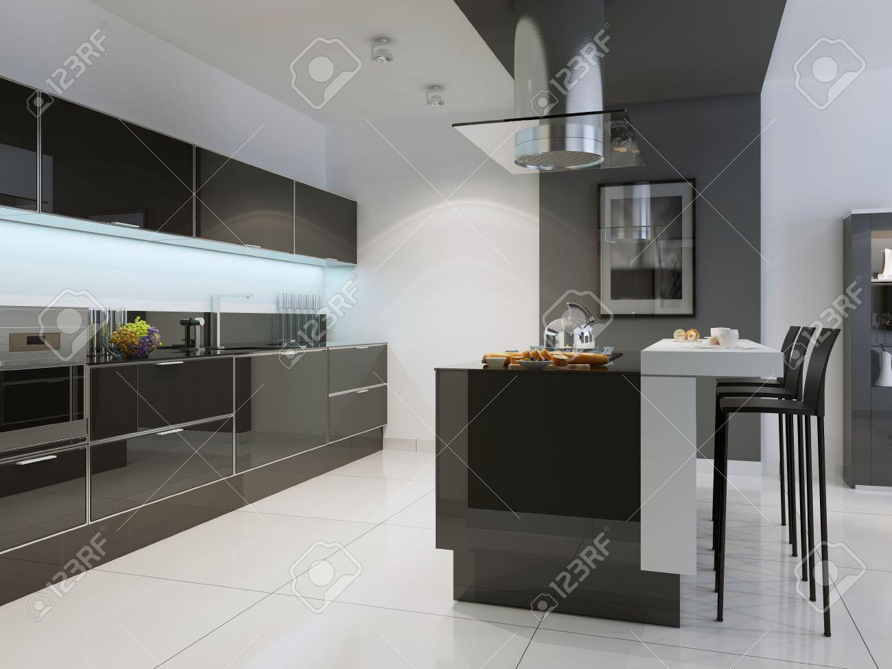 idea de la cocina de estilo techno con barra de la isla muebles negro