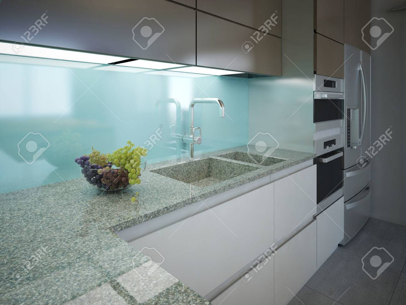 Modern Kitchen Clean Interior Design. Marble Working Area With ...