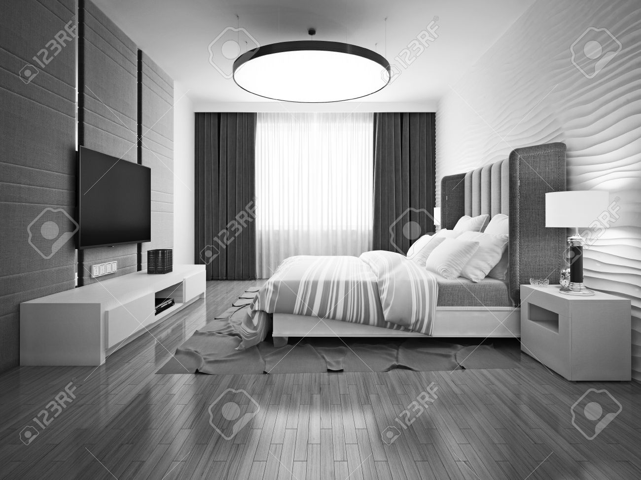 Charming Monochrome Art Deco Bedroom. 3D Render Stock Photo   46197798