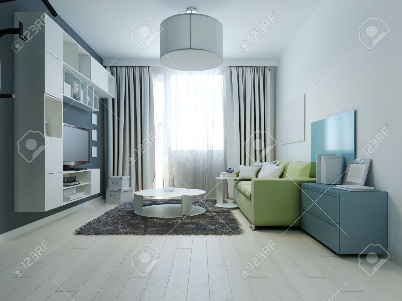 Design Of Bright Colored Living Room Kitsch Style. Room With Wall  Furniture. Parquet Made