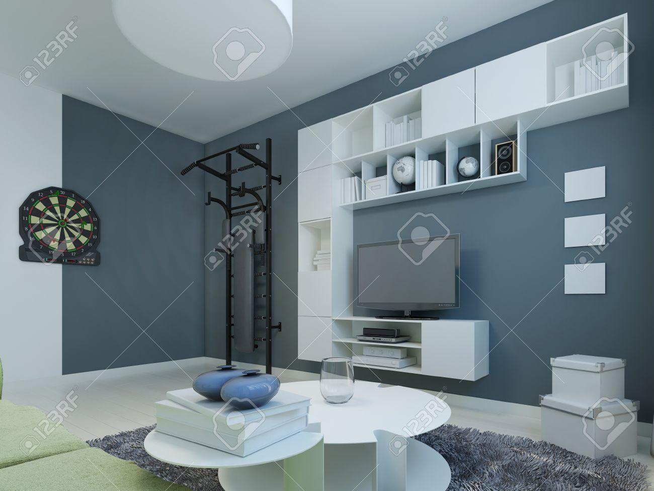 Lounge Zeitgenössischen Stil. Zimmer Mit Weißen Möbeln Und ...