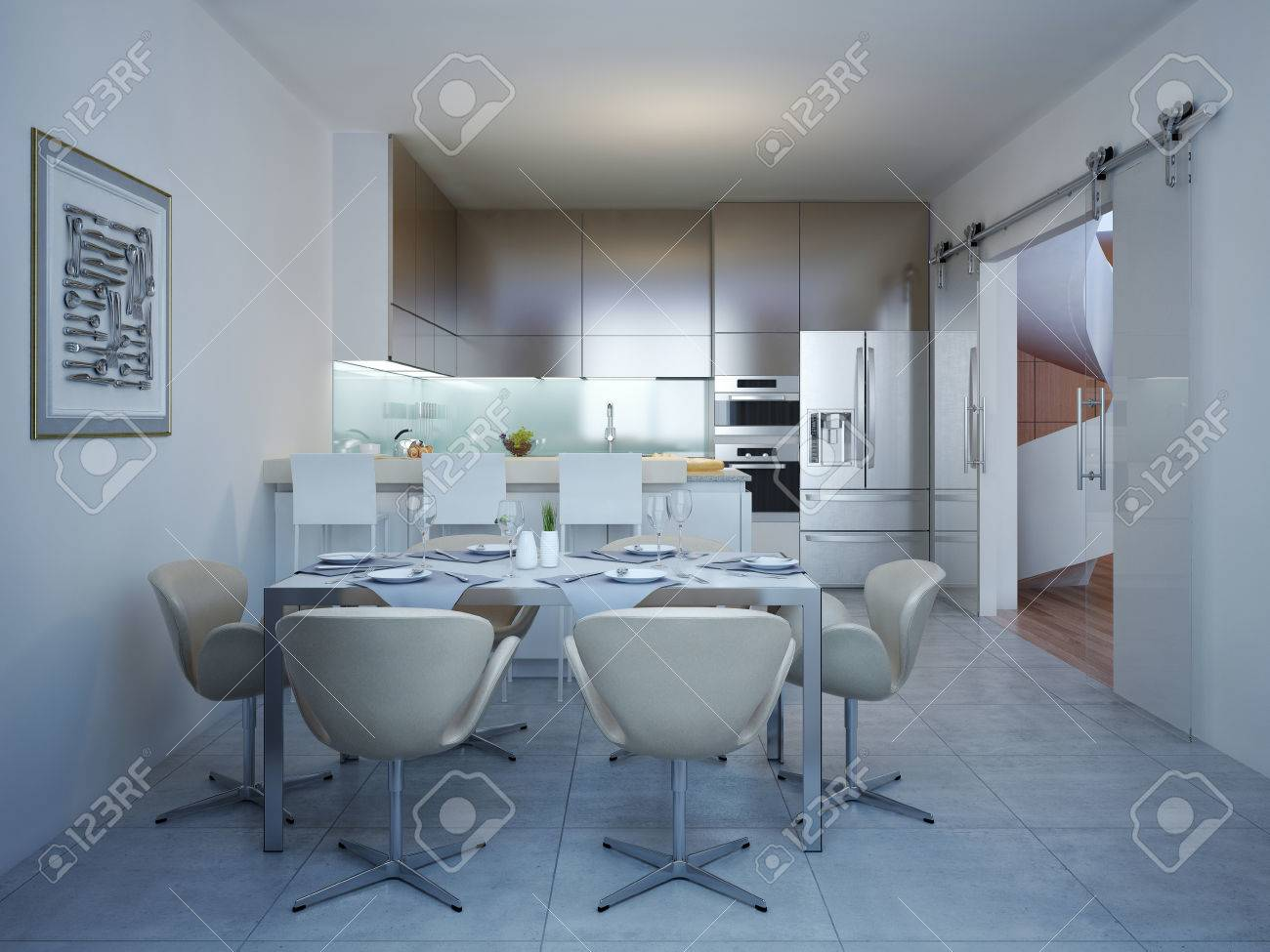 Served Dinner Table In The Kitchen Of Modern Style. Table For ...