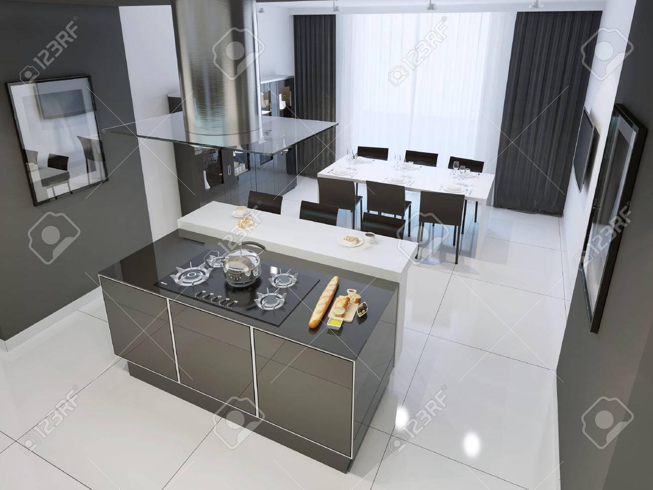 Techno Schwarz-weiß-Küche Interieur Mit Weißen Bodenbelag. 3D ...