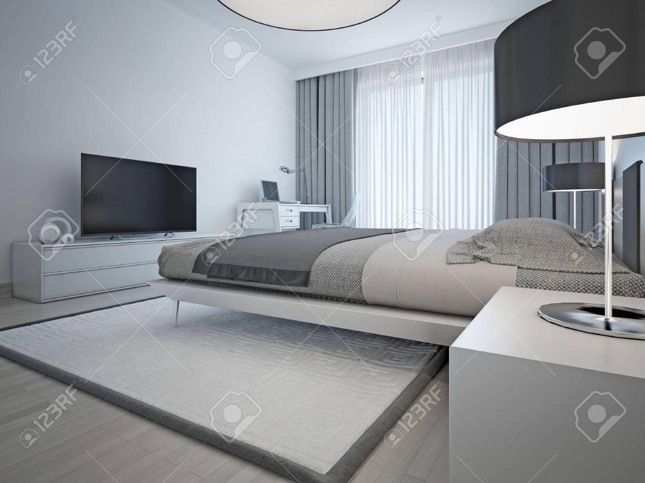 Monocromo Habitación Contemporánea. La Cama Elegante Y Muebles ...
