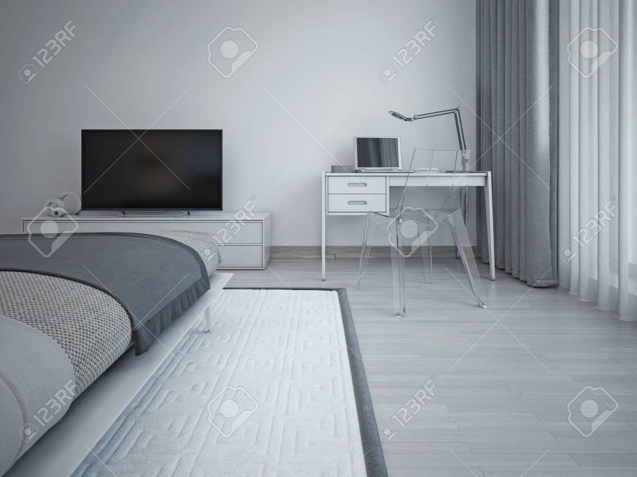 Bedroom Interior In Minimalist Style Gray Walls Laminate Flooring Exquisite Bed And TV