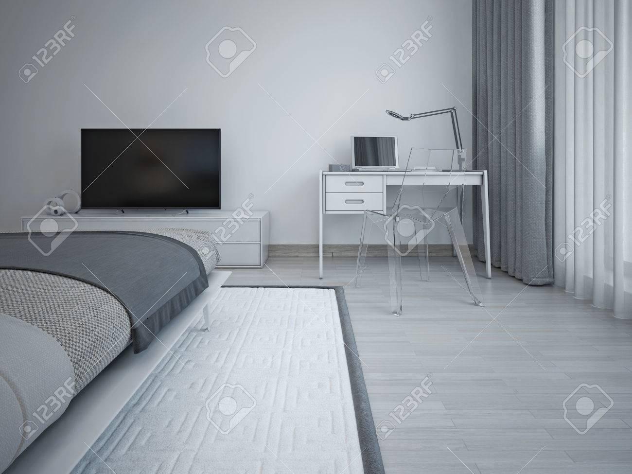 Schlafzimmer interieur im minimalistischen stil. graue wände