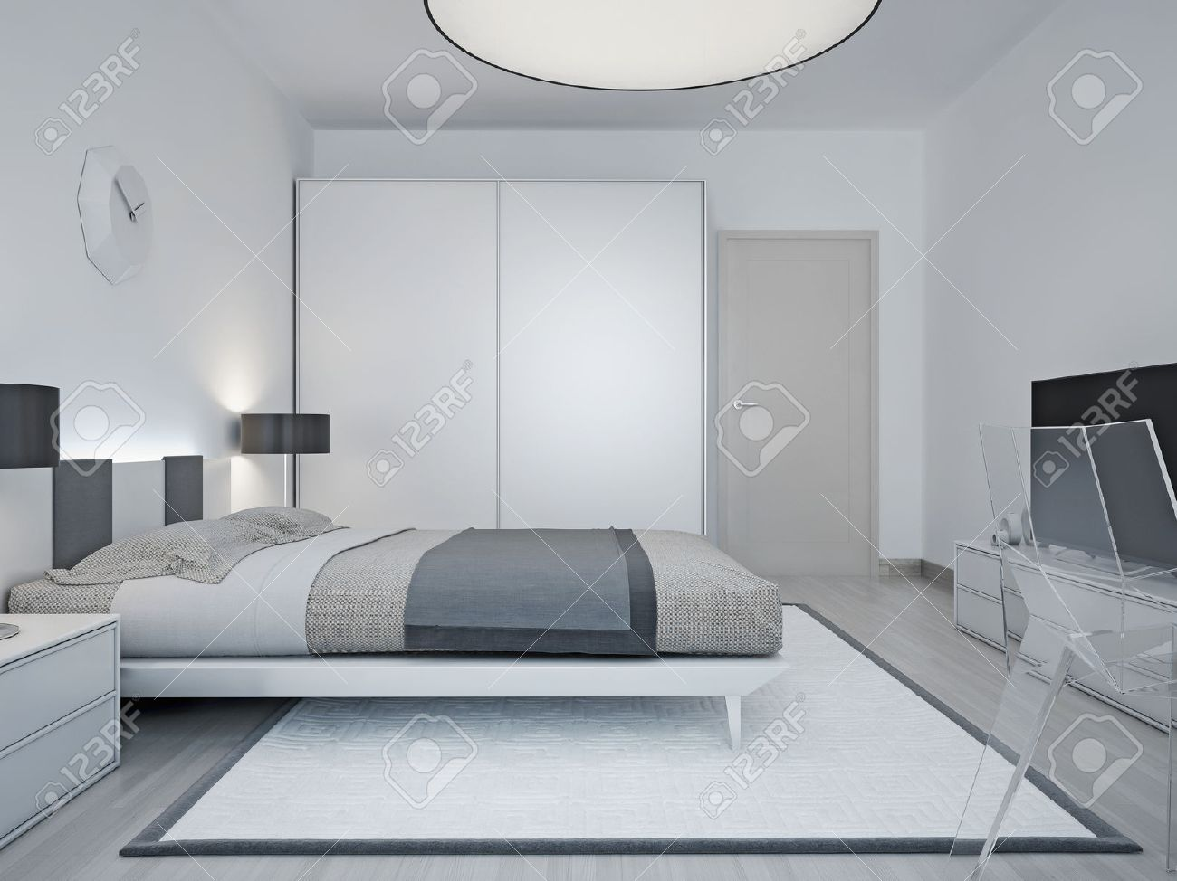 modern hotel room design. room with luxury bed, black lamp