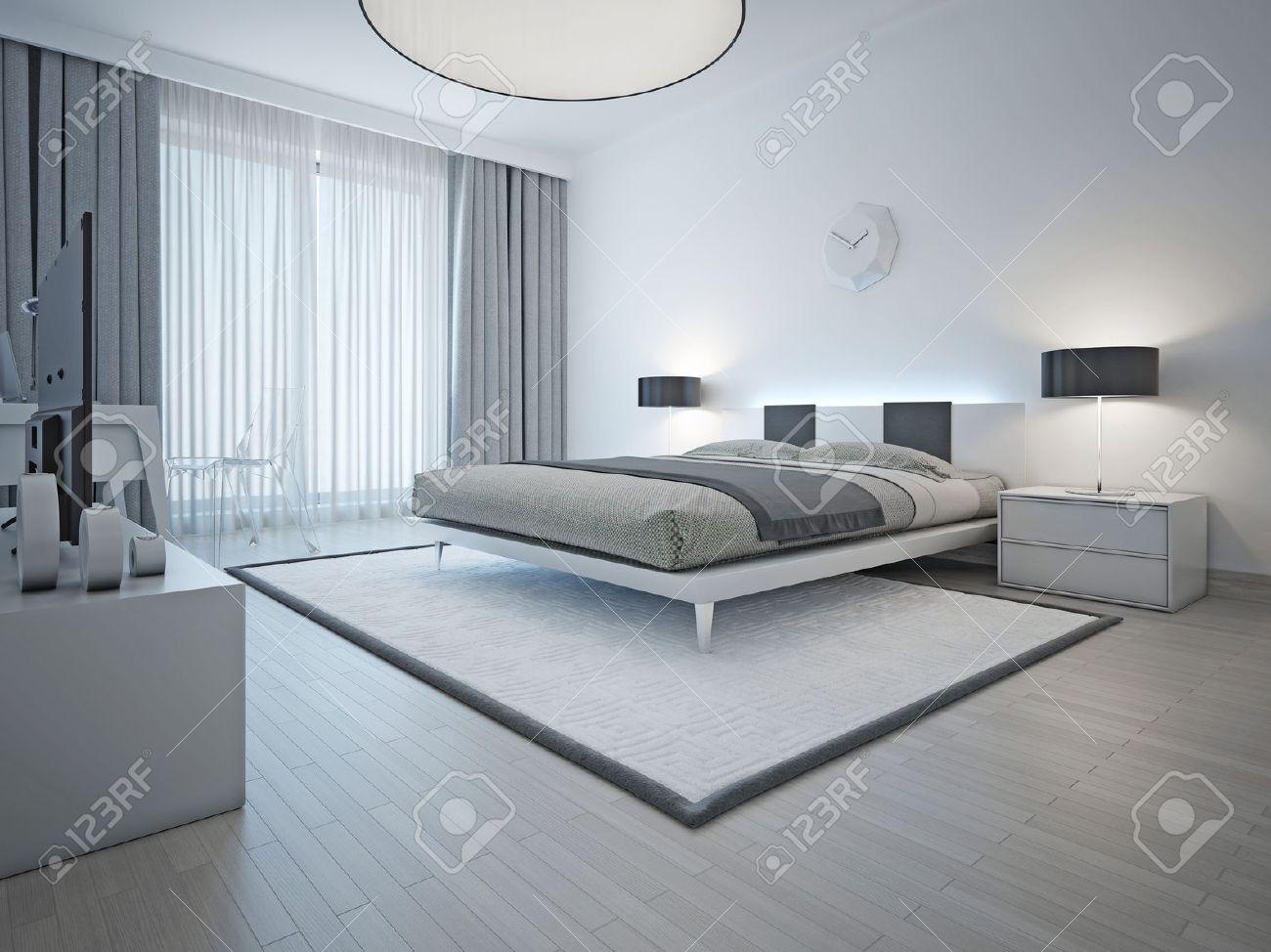 geräumige moderne styled schlafzimmer mit doppelbett, weißen teppich und  hellgraue wände und möbel. 3d übertragen