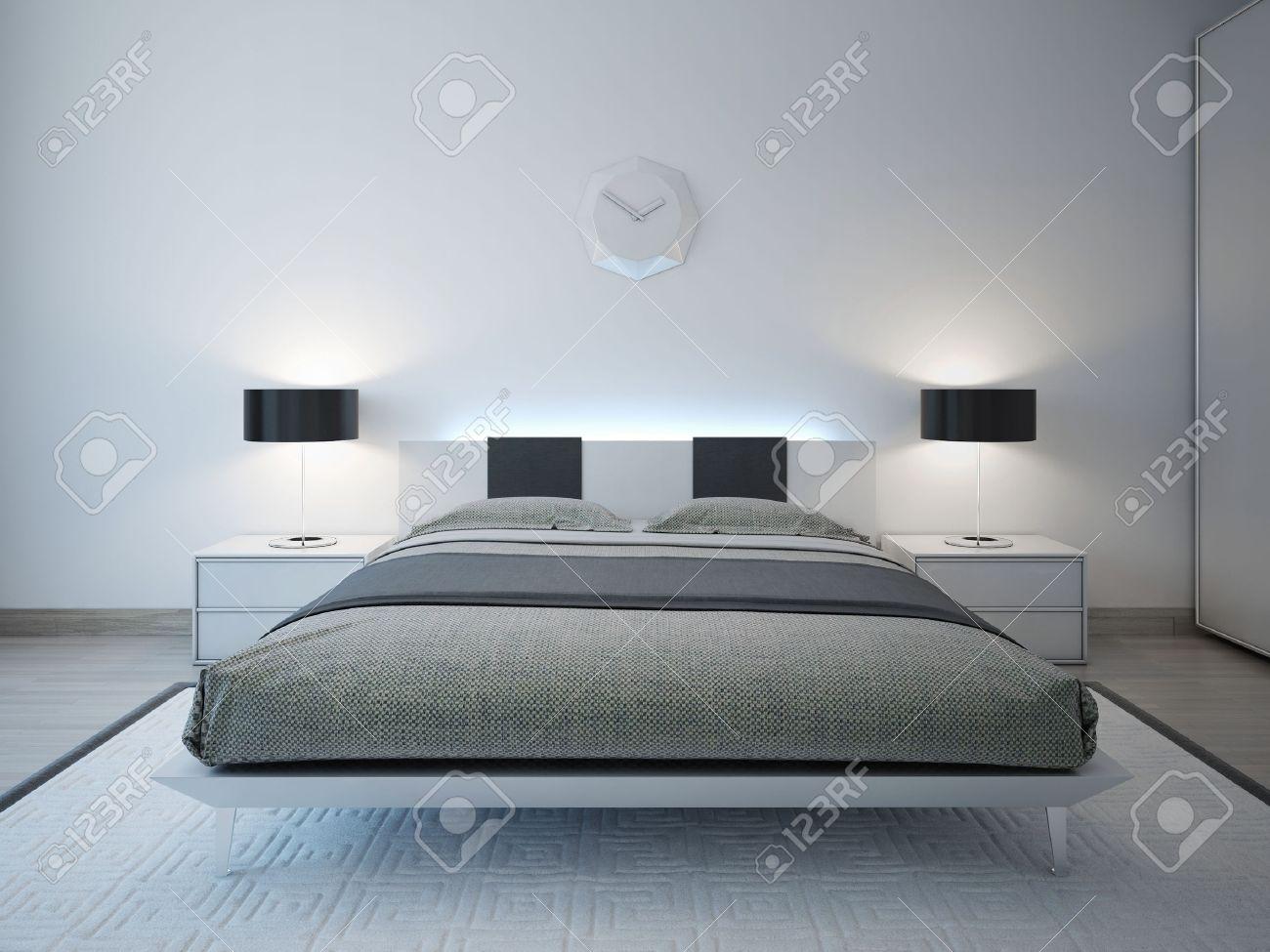 camera da letto moderna con mobili di illuminazione avanzata. 3d ... - Mobili Camera Da Letto Moderna