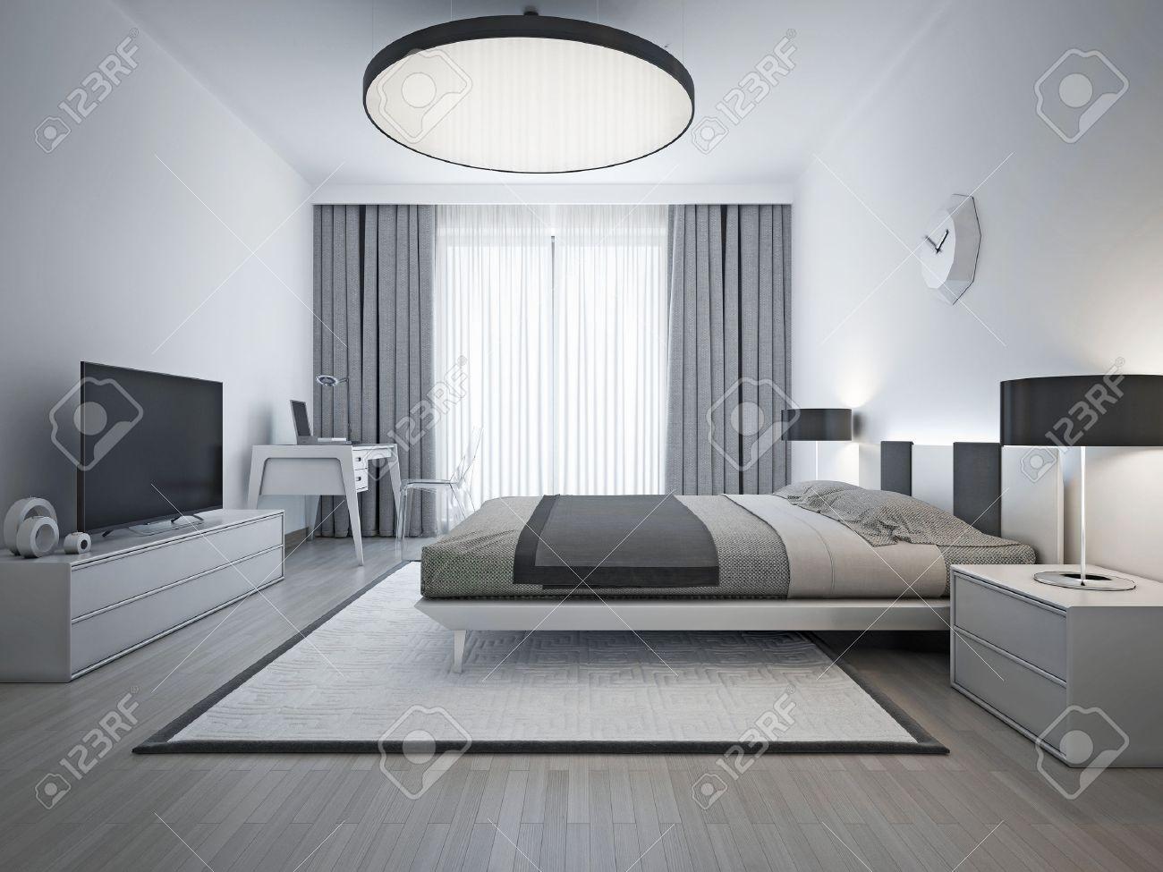 Chambre élégante de style contemporain. Monochrome intérieur chambre avec  lit double élégante et blanc tapis à motifs avec cadre noir. 3D render