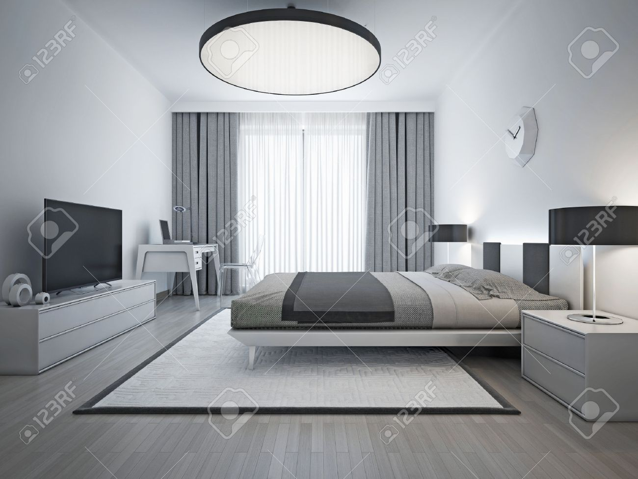 Elegant Bedroom Contemporary Style. Monochrome Interior Bedroom With Elegant  Double Bed And White Patterned Carpet