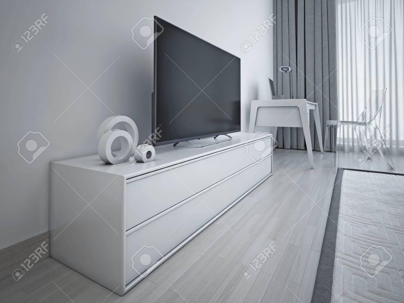Modernes Schlafzimmer Design Hellgrau Mit Metall Akzent Zeitgenossischen Niedrig Tv Sideboard 3d Ubertragen Lizenzfreie Fotos Bilder Und Stock Fotografie Image 46197875
