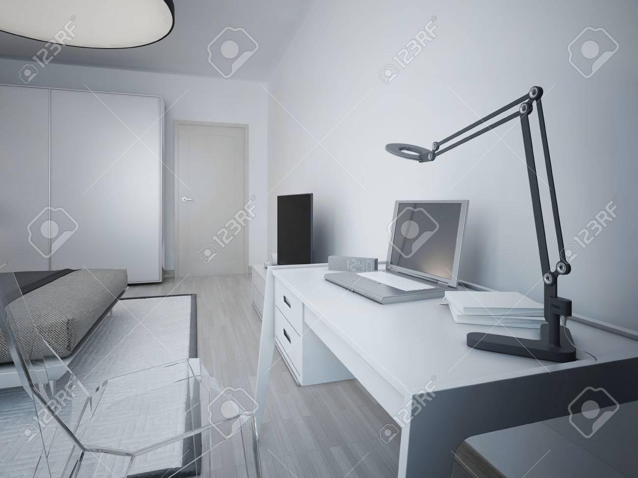 Idée de la zone de travail dans la chambre moderne. Blanc table design et  chaise en verre transparent. Sur une lampe de table, ordinateur portable,  ...