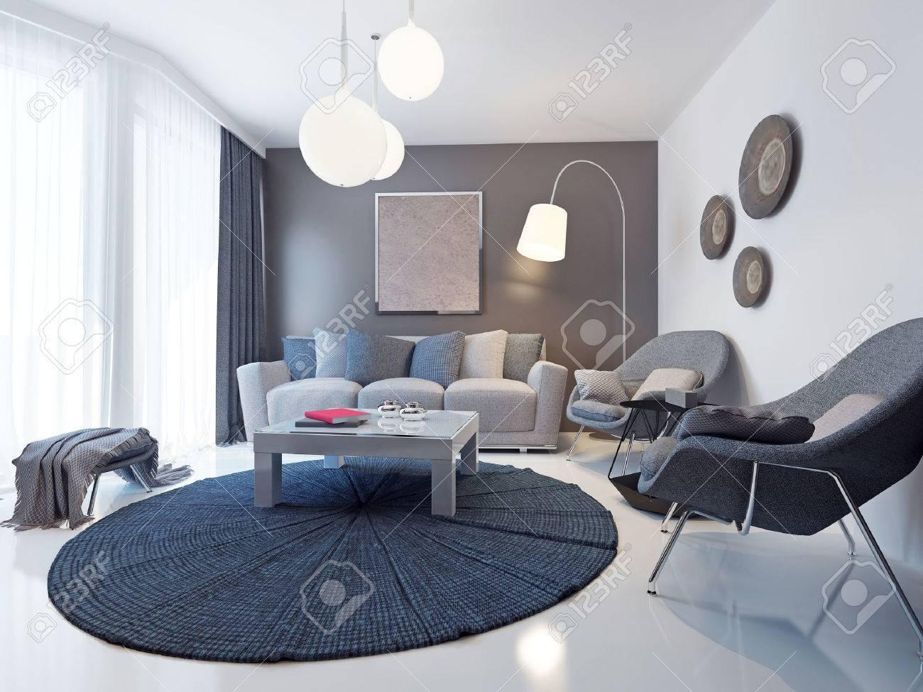 Helle Moderne Wohnzimmer Trend. Design-Ideen Für Eine Mittelgroße ...