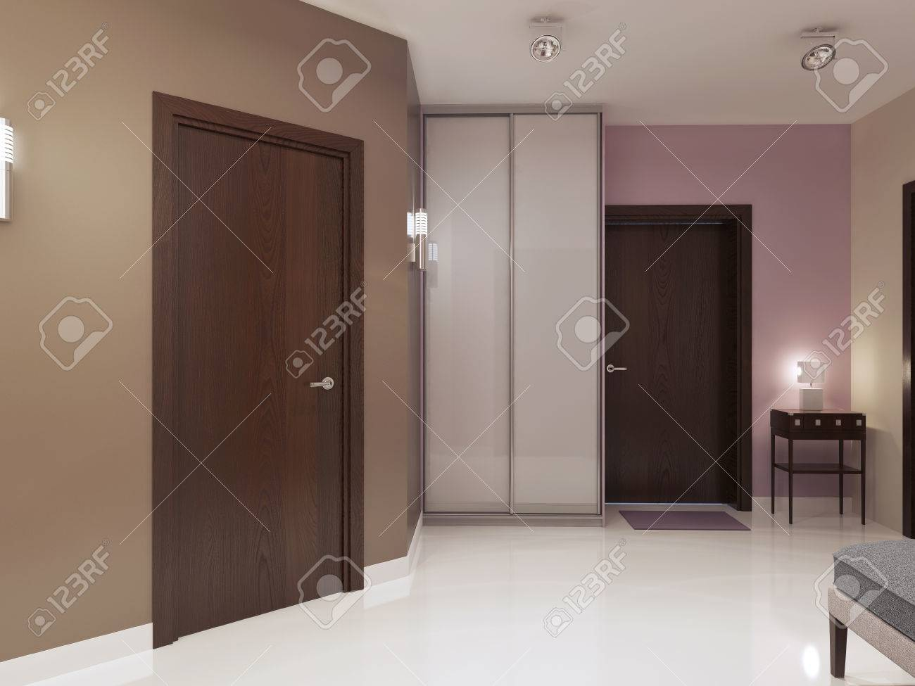 Idea of minimalist entrance hall. Single main door wardrobe with white matt doors. & Idea Of Minimalist Entrance Hall. Single Main Door Wardrobe ...