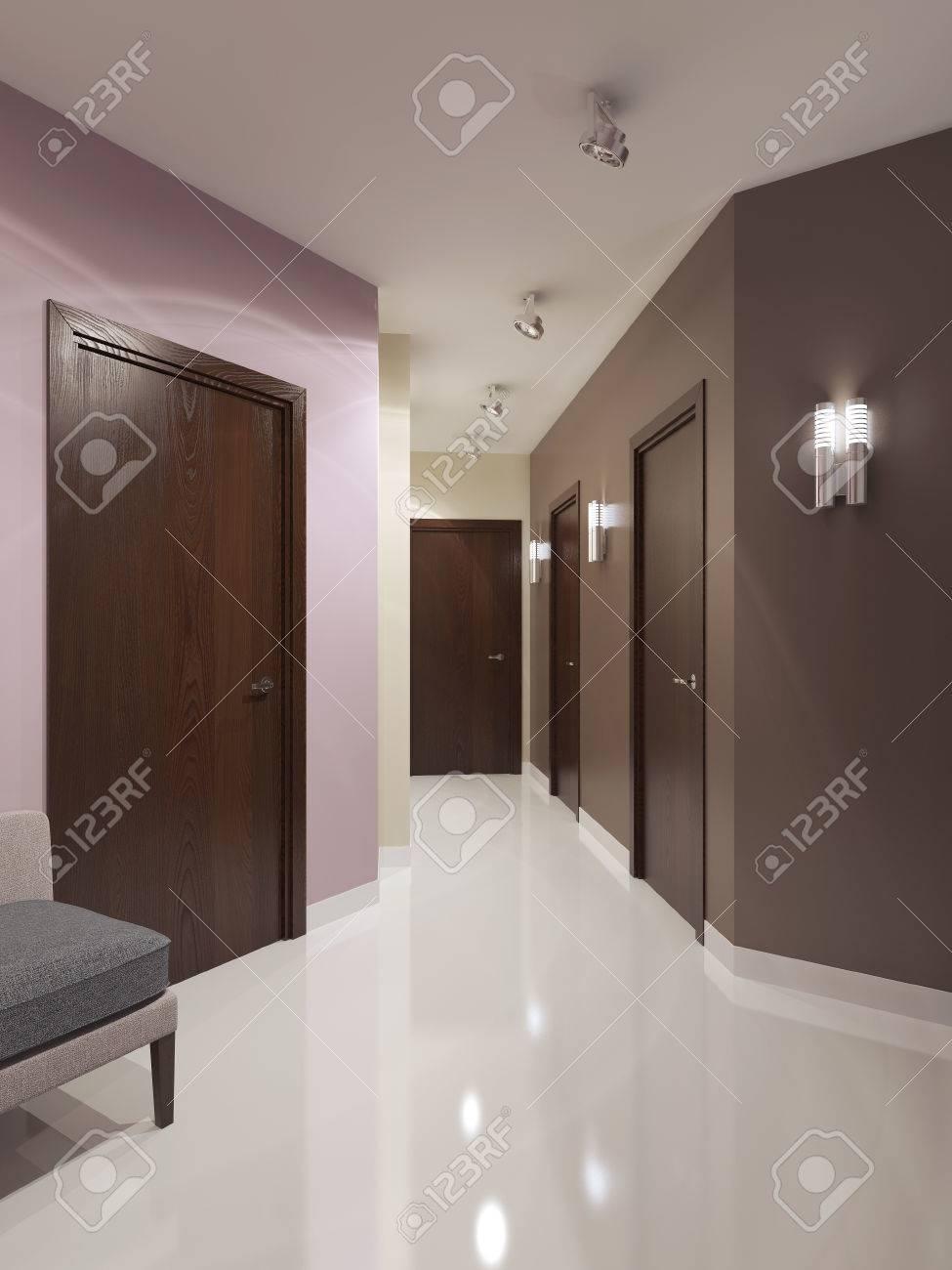 Idée de corridor contemporaine. Sombre portes bruns et les murs  multicolores. Intérieur lumineux de couloir élégante avec des appliques et  des lampes ...
